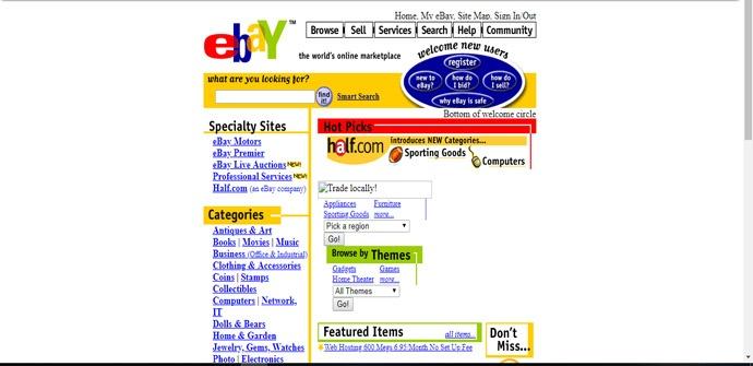 Cómo se veía eBay hace 15 años con Wayback Machine