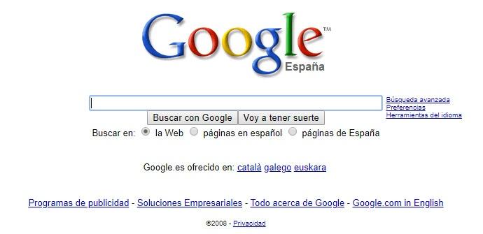 Cómo era Google en 2008