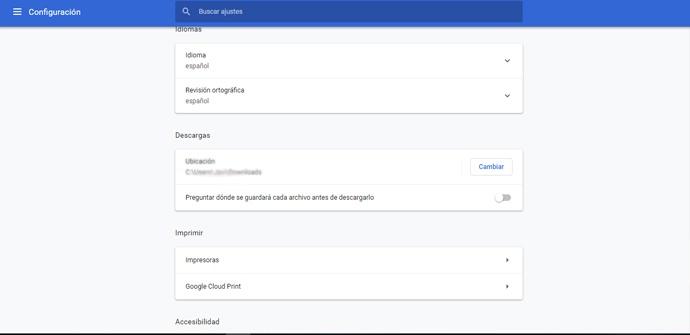 Cambiar la ubicación de descargas en Chrome