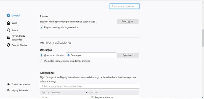 Cambiar la ubicación de descargas de Firefox