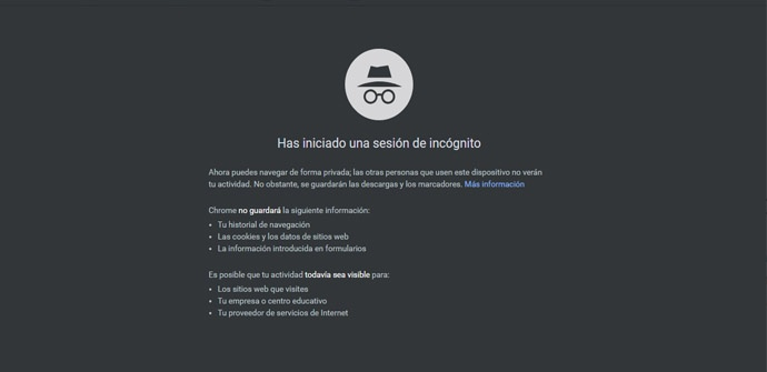 Modo de incógnito de Google Chrome