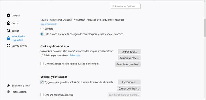 Borrar caché de navegación en Firefox