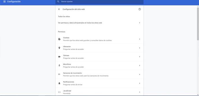 Configuración de sitio web de Chrome