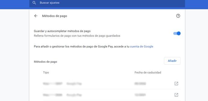 Quitar métodos de pago de Chrome