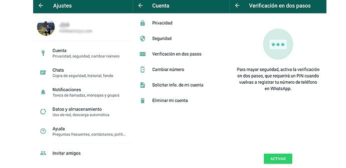 Activar verificación en dos pasos en WhatsApp