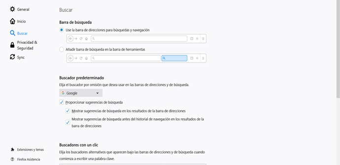 Cambiar buscador predeterminado en Firefox