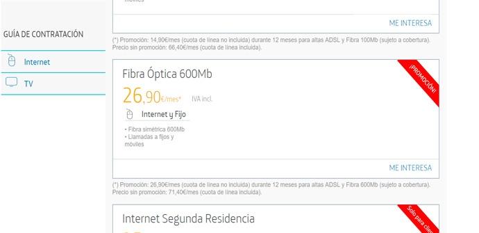 Máxima velocidad de fibra óptica de Movistar