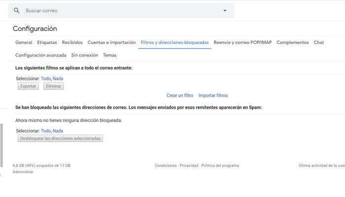 Bloquear una dirección en Gmail