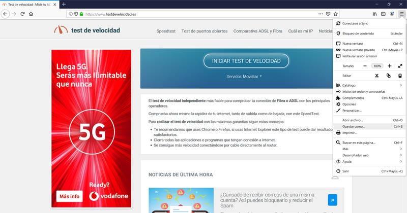 Descargar página web en Firefox