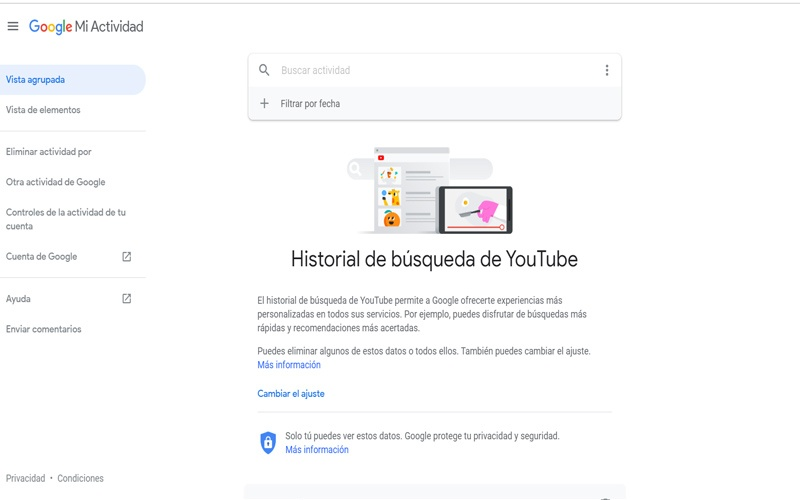Eliminar historial de búsquedas de YouTube