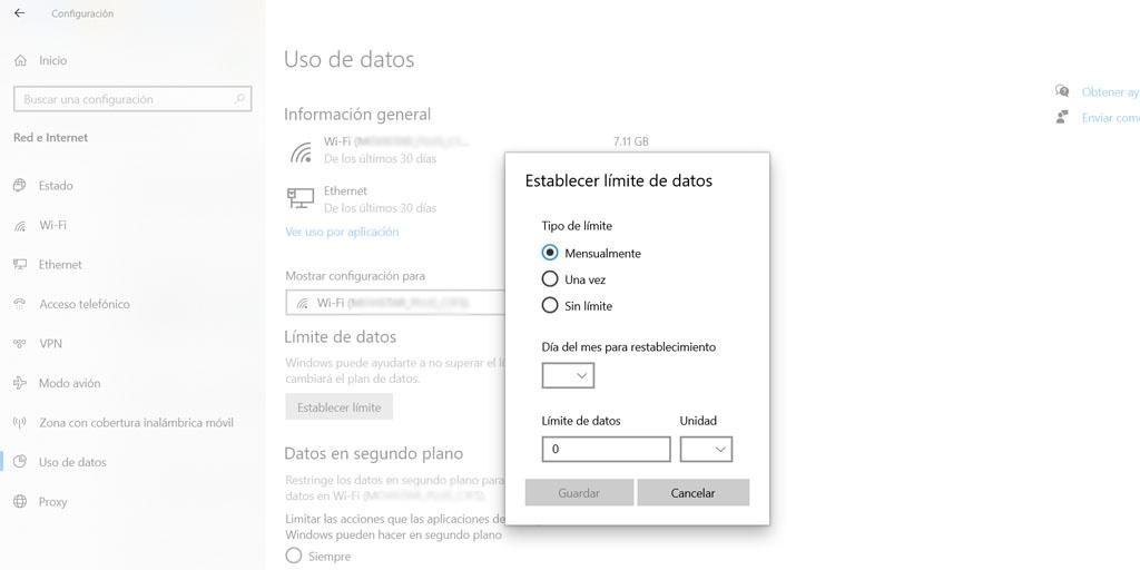 Establecer límite de datos en Windows