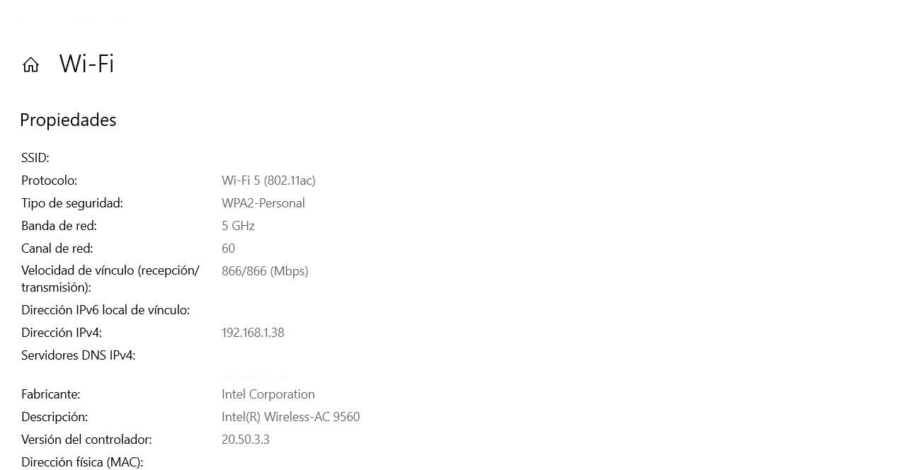 Ver el cifrado Wi-Fi desde la configuración