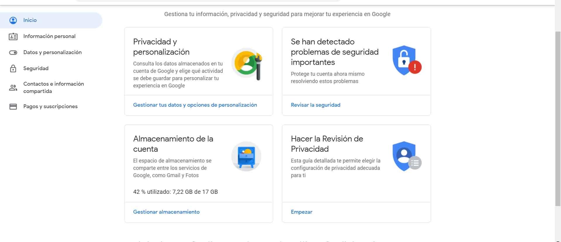 Gestionar datos en Gmail