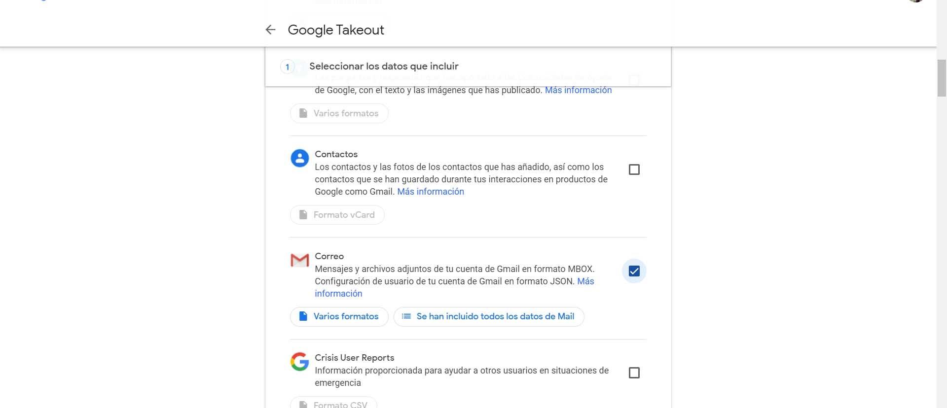 Descargar correos de Gmail