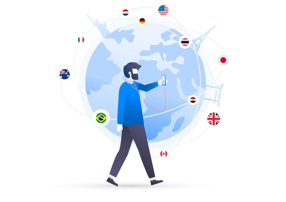 hombre andando con móvil y mundo
