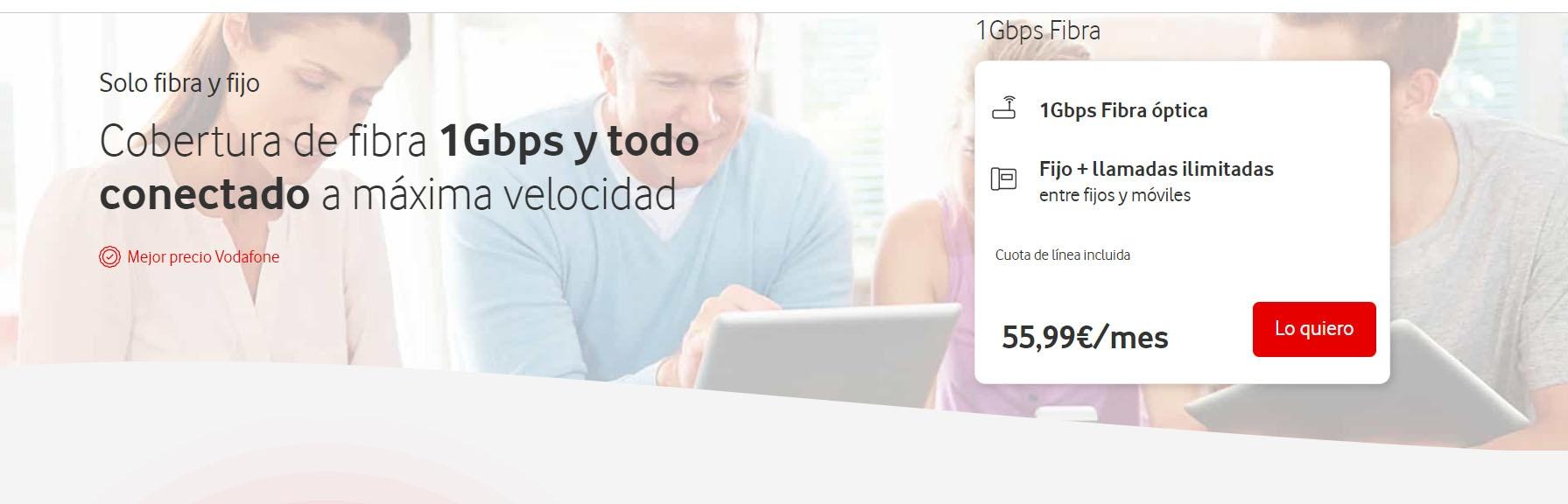 Fibra óptica de 1 Gbps de Vodafone